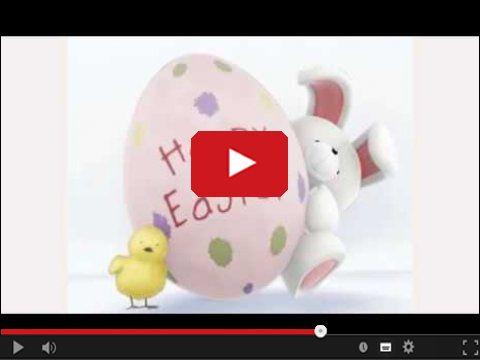 Wesołych Świąt Wielkanocnych życzy pisklak i zając
